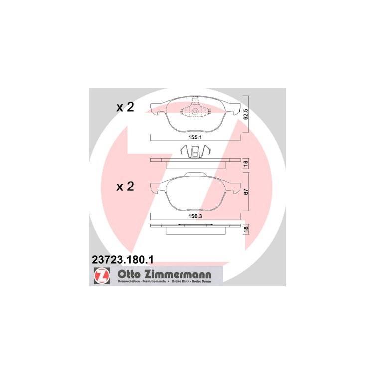 Zimmermann Pastiglie Freno anteriore FORD C-MAX exosport FOCUS 2 3 KUGA MAZDA 3 VOLVO