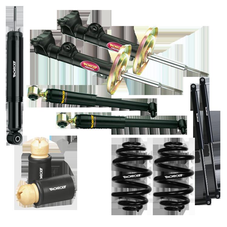 Monroe Stoßdämpfer, Gasfedern, Federn und Staubschutzsätze