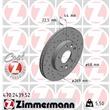 1 Zimmermann Sportbremsscheibe 470.2439.52 Dacia Duster Renault Megane