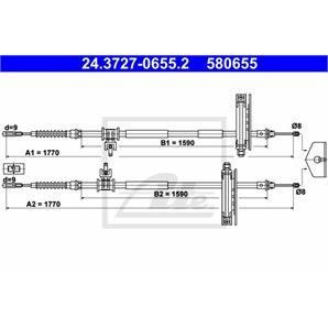 ATE Handbremsseil hinten Länge 1770 für Ford Focus DAW DBW DFW DNW kaufen | Autoteile-Preiswert