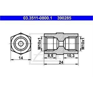 ATE Adapter für Bremsleitung 14mm