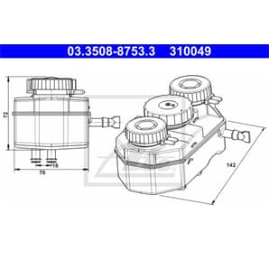ATE Ausgleichsbehälter für Bremsflüssigkeit Mercedes /8 Pagode SL S-Klasse