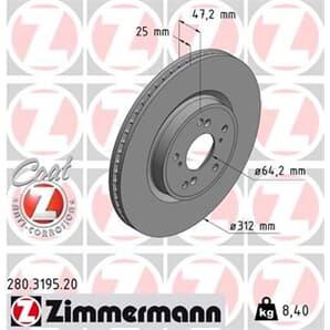 1 Zimmermann Bremsscheibe 280.3195.20
