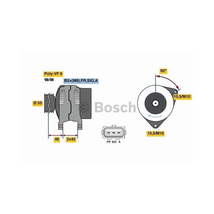 Bosch Lichtmaschine Ford C-Max Fiesta 5 Focus 2 Volvo C30 S40 II V50