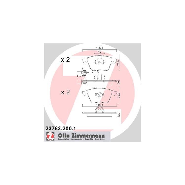 Zimmermann Bremsscheiben + Bremsbeläge vorne Audi A6 A8