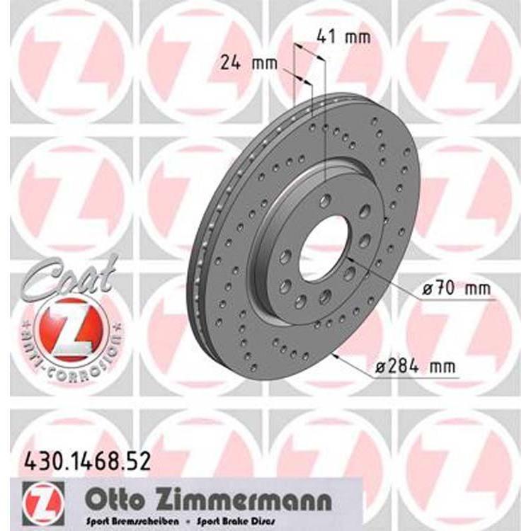 2 Zimmermann Sportbremsscheiben vorne Opel Saab