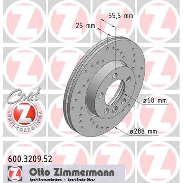 2 Zimmermann Sportbremsscheiben 288 mm vorne 600.3209.52 online günstig Autoteile kaufen