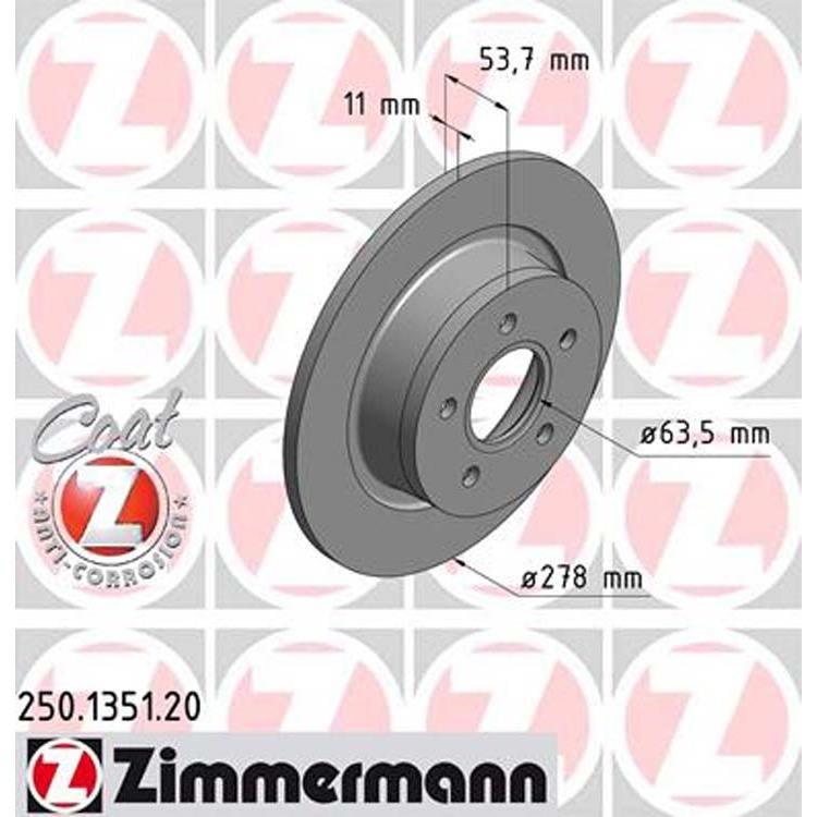 2 Zimmermann Bremsscheiben 277mm hinten Ford Transit Tourneo Connect