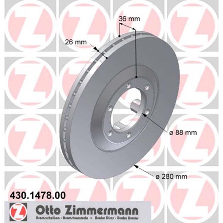 2 Zimmermann Bremsscheiben 280mm vorne Isuzu Trooper Opel Frontera A B Monterey