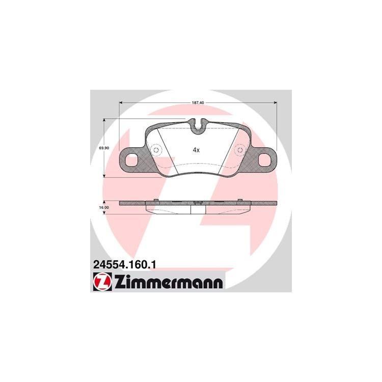 Zimmermann Bremsscheiben + Bremsbeläge vorne + hinten Porsche Panamera 3,0 3,6 4,8 + E-Hybrid