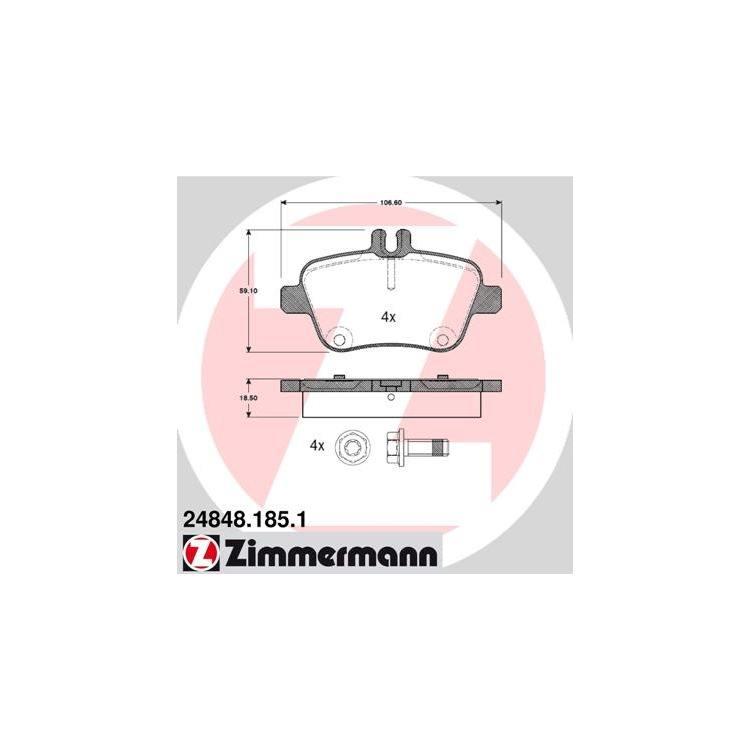 Zimmermann Bremsscheiben + Bremsbeläge hinten Mercedes A-Klasse B-Klasse CLA GLA