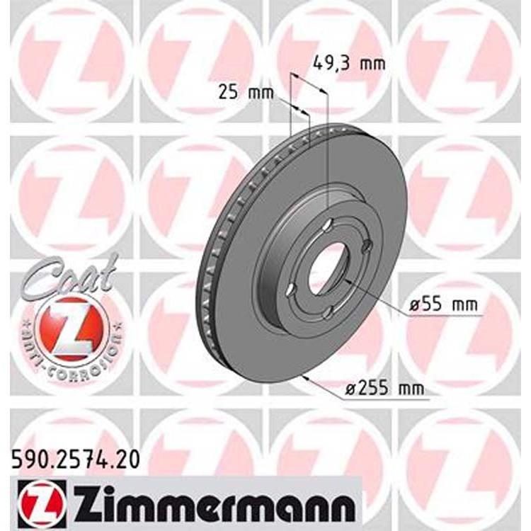2 Zimmermann Bremsscheiben 255mm vorne Toyota Corolla