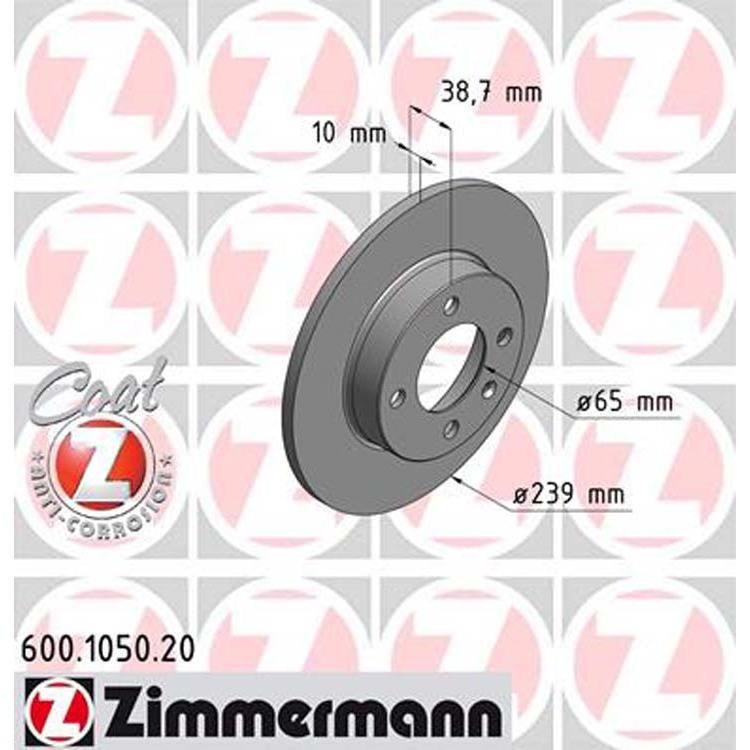 2 Zimmermann Bremsscheiben 239mm vorne Audi Seat VW