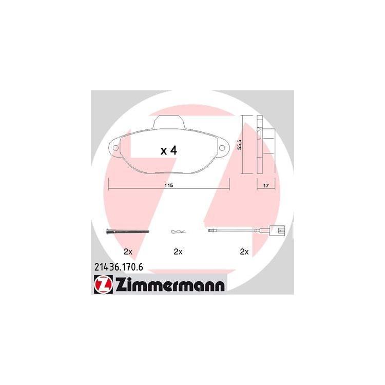 Zimmermann Bremsbeläge vorne Fiat 500 1,2 + LPG