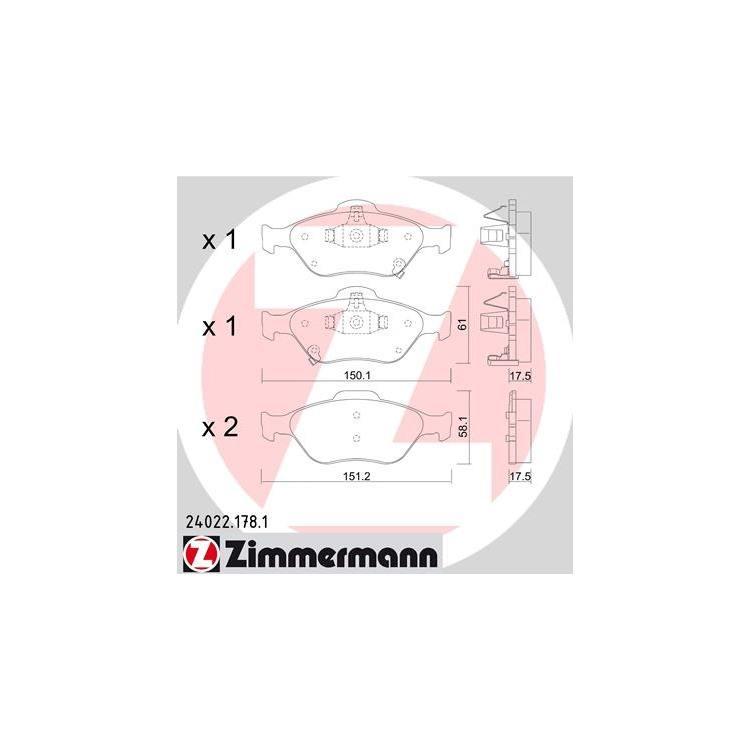 Zimmermann Bremsbeläge vorne für 258mm Bremse Toyota Yaris