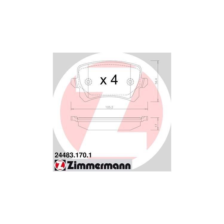 Zimmermann Bremsbeläge hinten Audi A6 Q3 Seat VW CC Passat Sharan Tiguan
