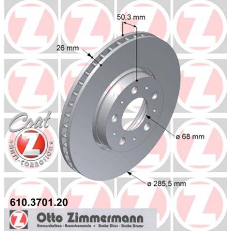 2 Zimmermann Bremsscheiben 285mm vorne Volvo S60 V70 S80 XC70