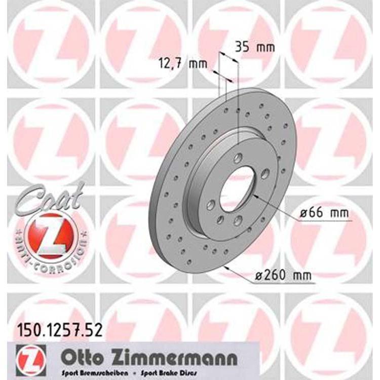 2 Zimmermann Sportbremsscheiben vorne BMW E30 316 318 324 i d