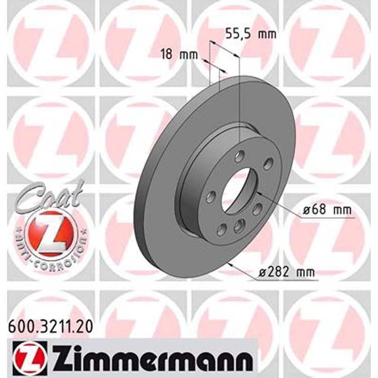 """2 Zimmermann Bremsscheiben 282mm vorne VW Transporter T4 mit 15"""" Rad"""