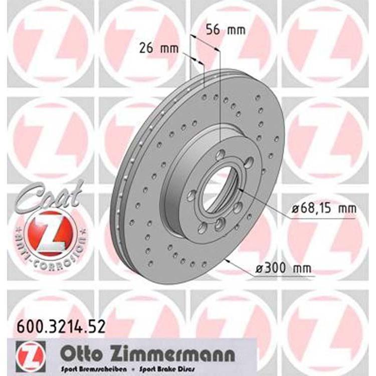 2 Sport-Bremsscheiben VW T4 Transporter vorne 300mm Zimmermann