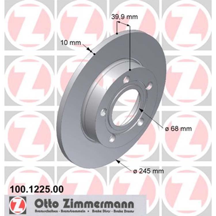 2 Zimmermann Bremsscheiben 245mm hinten Audi 80 S2