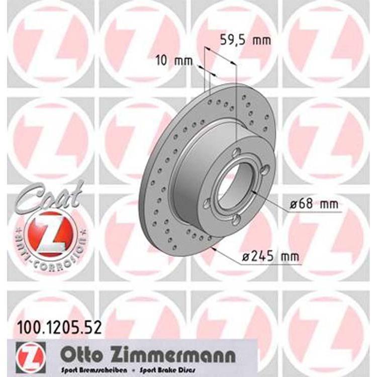 2 Zimmermann Sportbremsscheiben hinten Audi 80 100