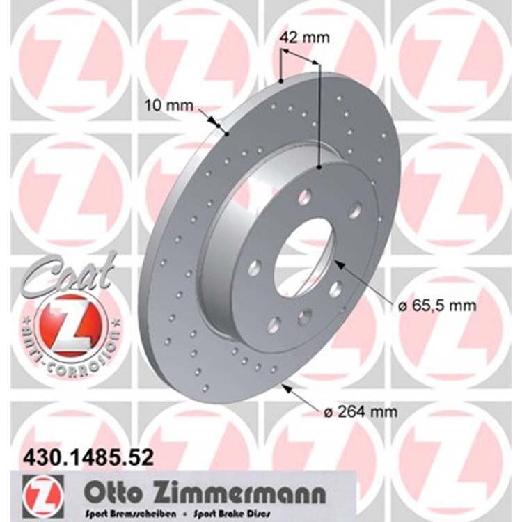 2 Zimmermann Sportbremsscheiben hinten Opel Opel Astra G H GTC Caravan 5-Loch