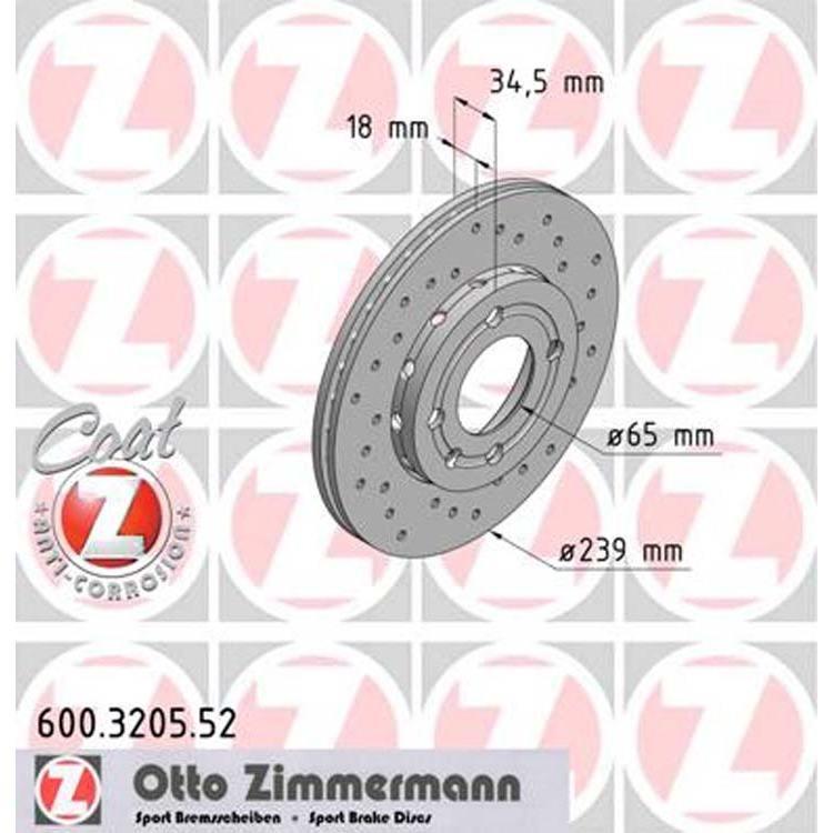 2 Zimmermann Sportbremsscheiben 239mm vorne Audi A4 B5 B6 Seat Exeo VW Passat 3B