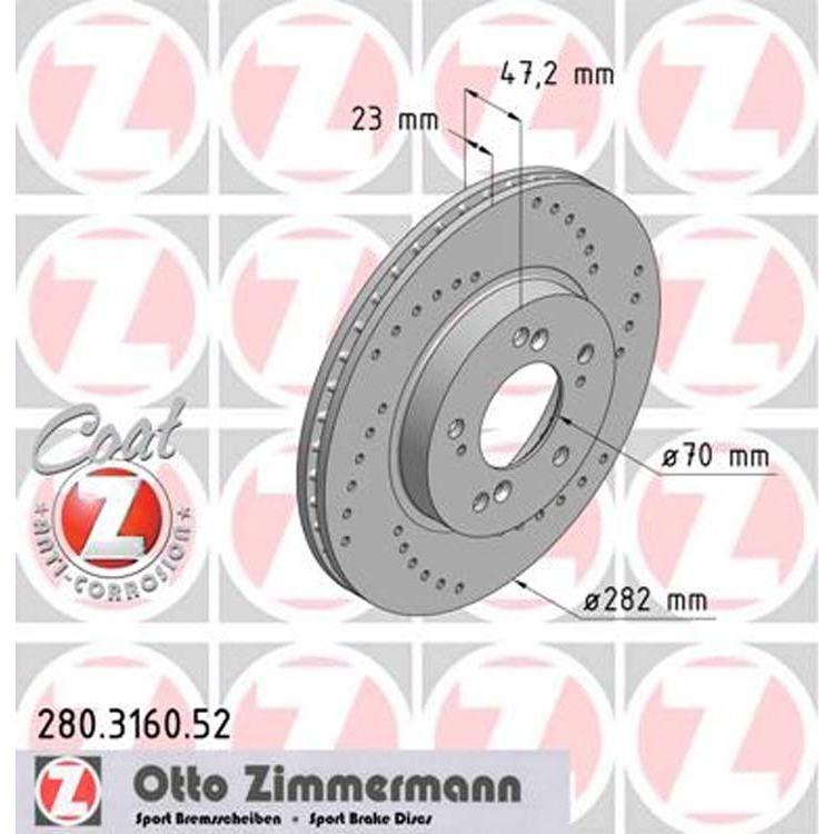 2 Zimmermann Sportbremsscheiben vorne Honda HR-V CR-V Prelude