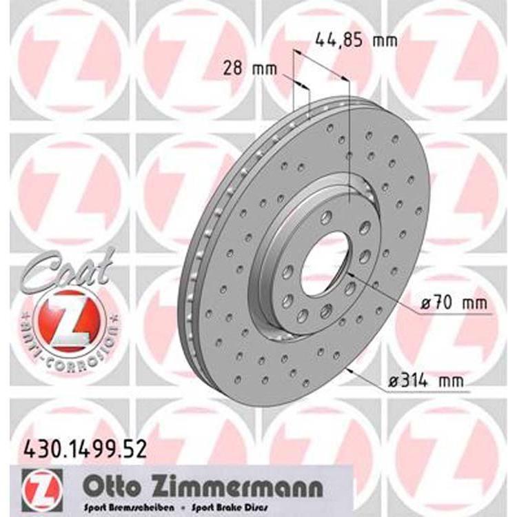 2 Zimmermann Sportbremsscheiben 314mm vorne Opel Saab