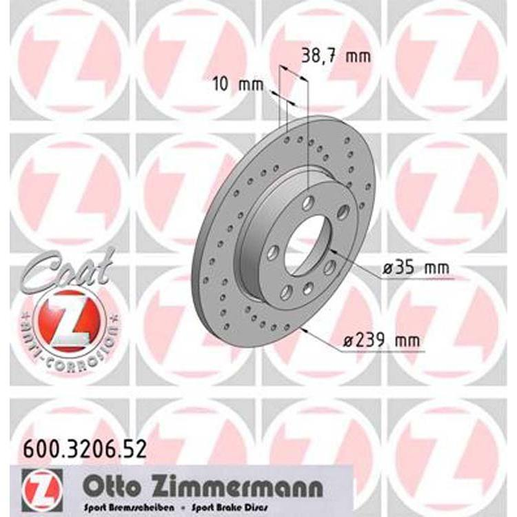 2 Zimmermann Sportbremsscheiben hinten VW  VW Golf 3 Passat 2,9 VR6