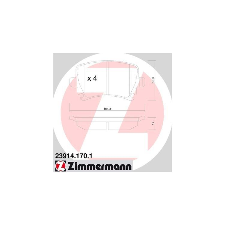 Zimmermann Bremsbeläge hinten 23914.170.1 online günstig Autoteile kaufen