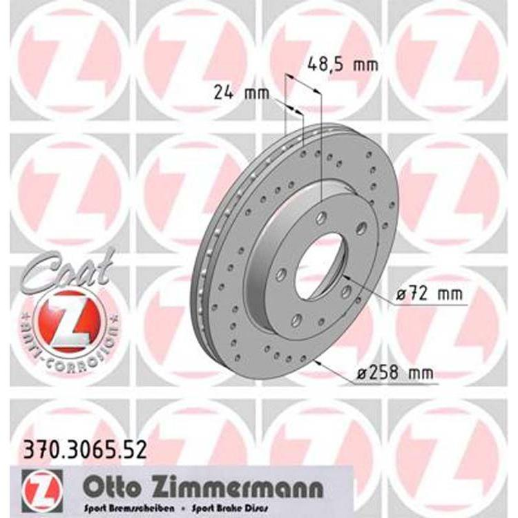 Zimmermann Sportbremsscheiben vorne Ford Mazda Ford Probe Mazda 626 GE GF 6 MX-6 Premacy