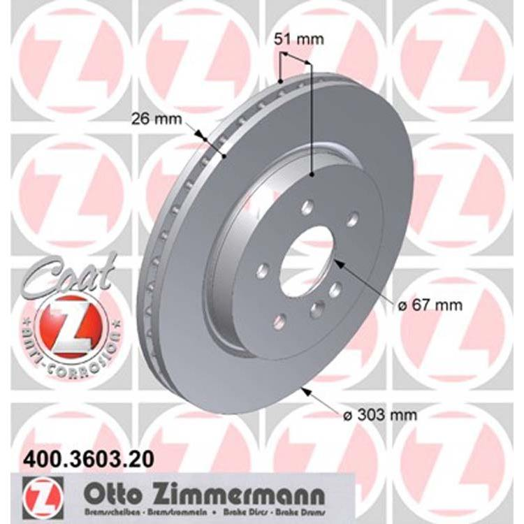 2 Zimmermann Bremsscheiben 303mm vorne Mercedes M-Klasse W163