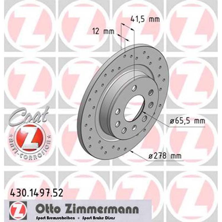 2 Zimmermann Sportbremsscheiben 278mm hinten Fiat Croma Opel Signum Vectra C