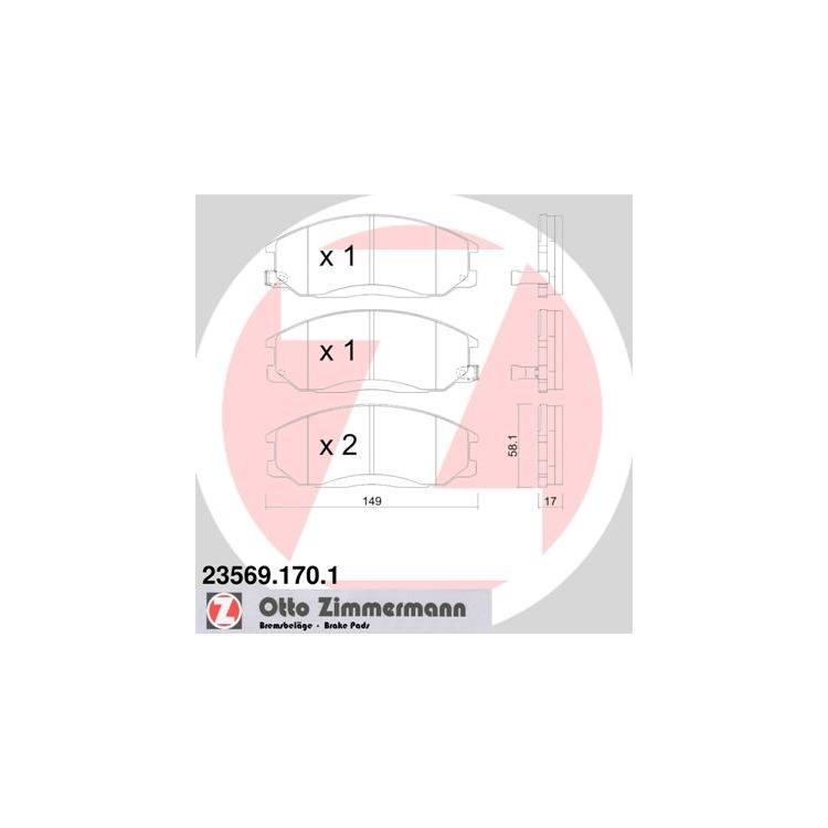 Zimmermann Bremsscheiben + Bremsbeläge vorne Hyundai H1 Starex 2,5 CRDi