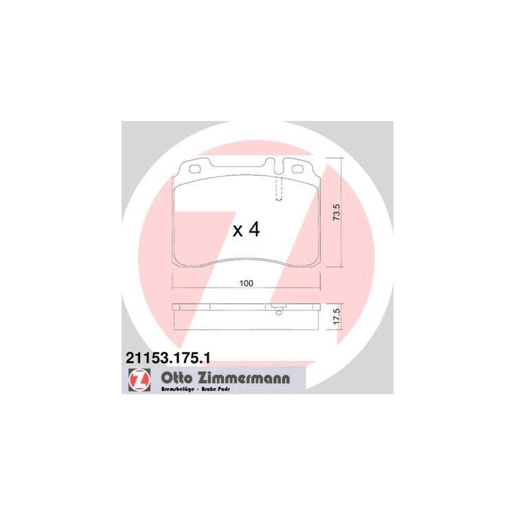Zimmermann Bremsbeläge vorne Mercedes SL E-Klasse C124 W124 R129