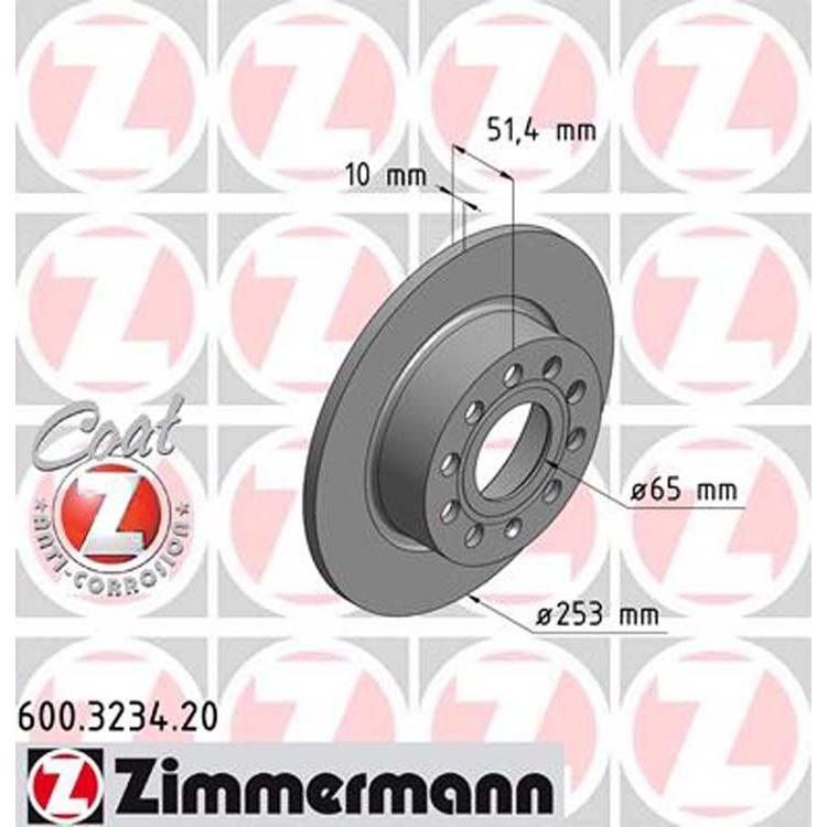 2 Zimmermann Bremsscheiben 253mm hinten Audi Seat Skoda VW
