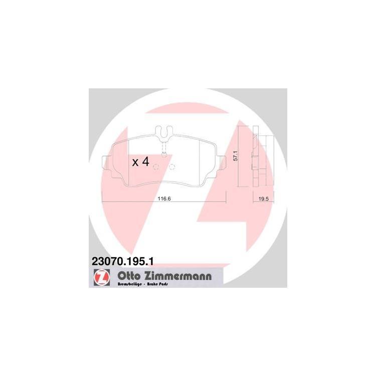 Zimmermann Bremsbeläge vorne Mercedes Vaneo 414 1,6 - 1,9