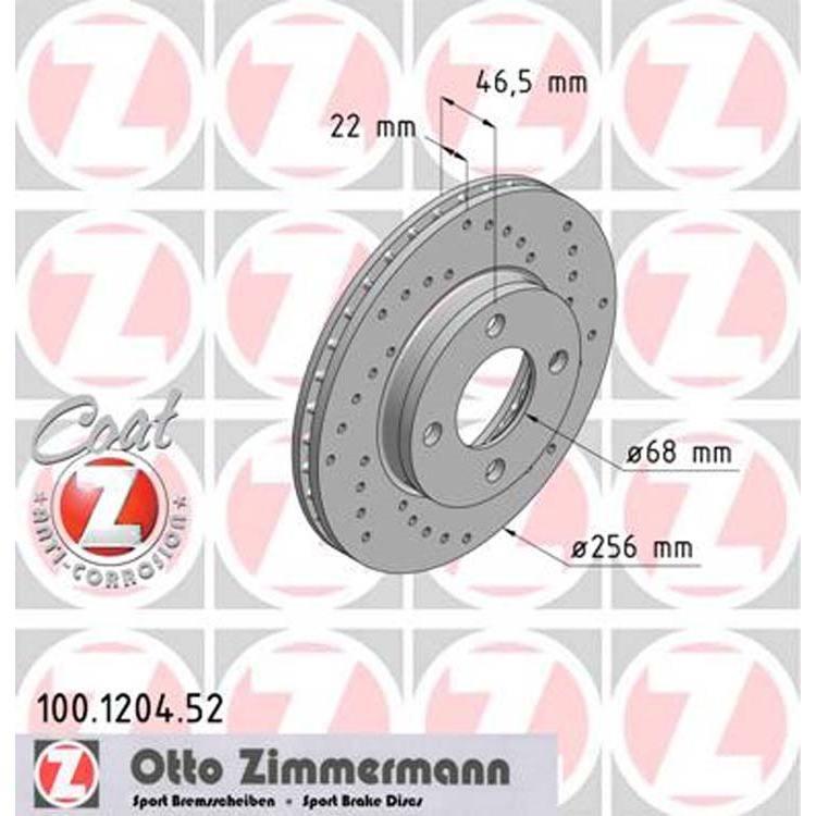 2 Zimmermann Sportbremsscheiben vorne Audi 80 90 100