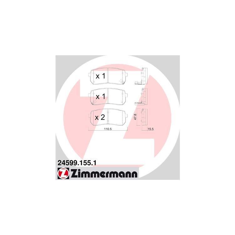 Zimmermann Bremsscheiben + Bremsbeläge hinten Hyundai H-1 Starex