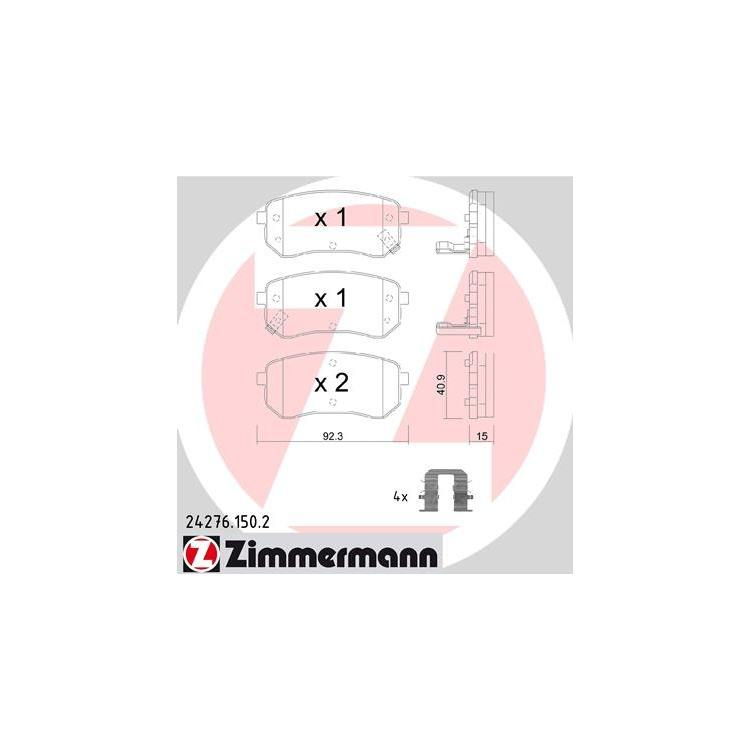 Zimmermann Bremsbeläge hinten Hyundai I10 Kia Picanto 1,0 - 1,2
