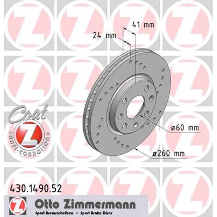 2 Zimmermann Sport-Bremsscheiben vorne 260mm Opel Combo Corsa C Meriva Tigra