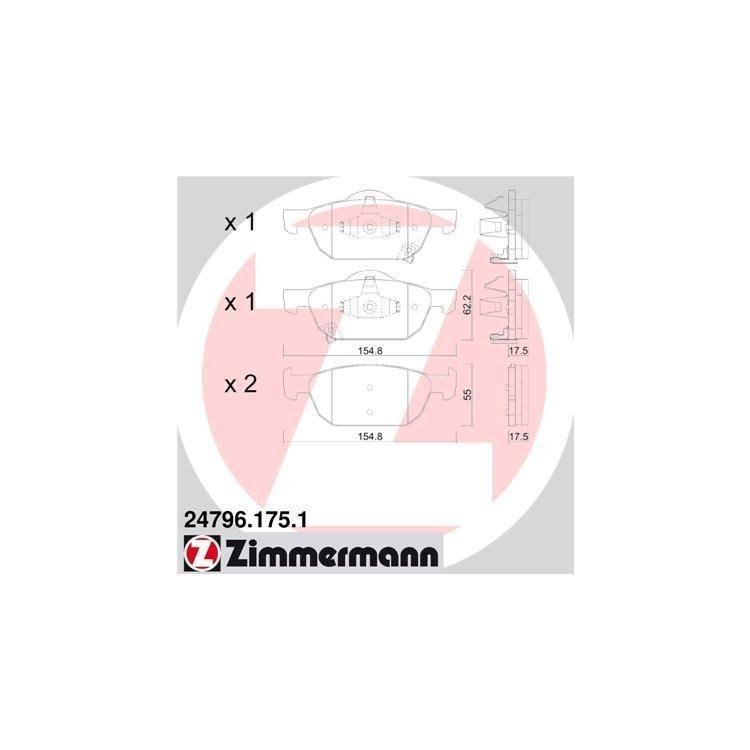 Zimmermann Bremsbeläge vorne Honda Accord VIII + Tourer CU 2.0i 2.2i DTEC