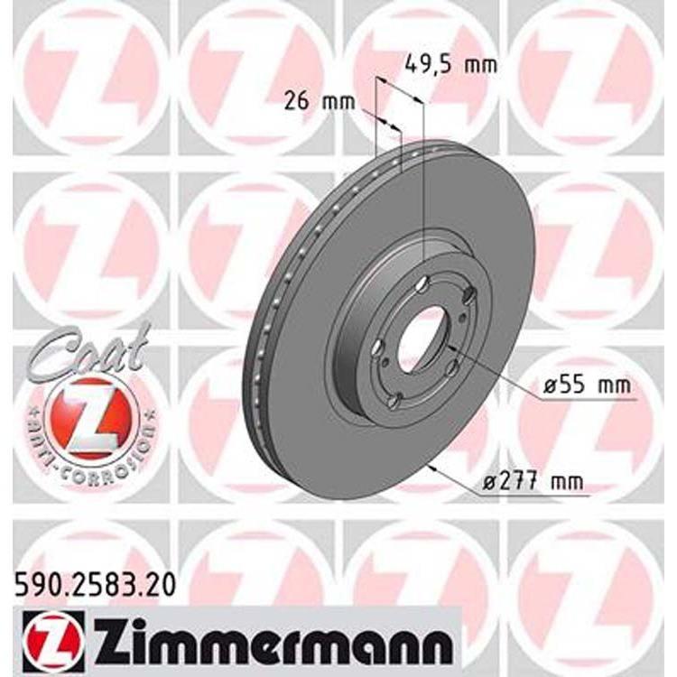 2 Zimmermann Bremsscheiben 277mm vorne Toyota Avensis T25