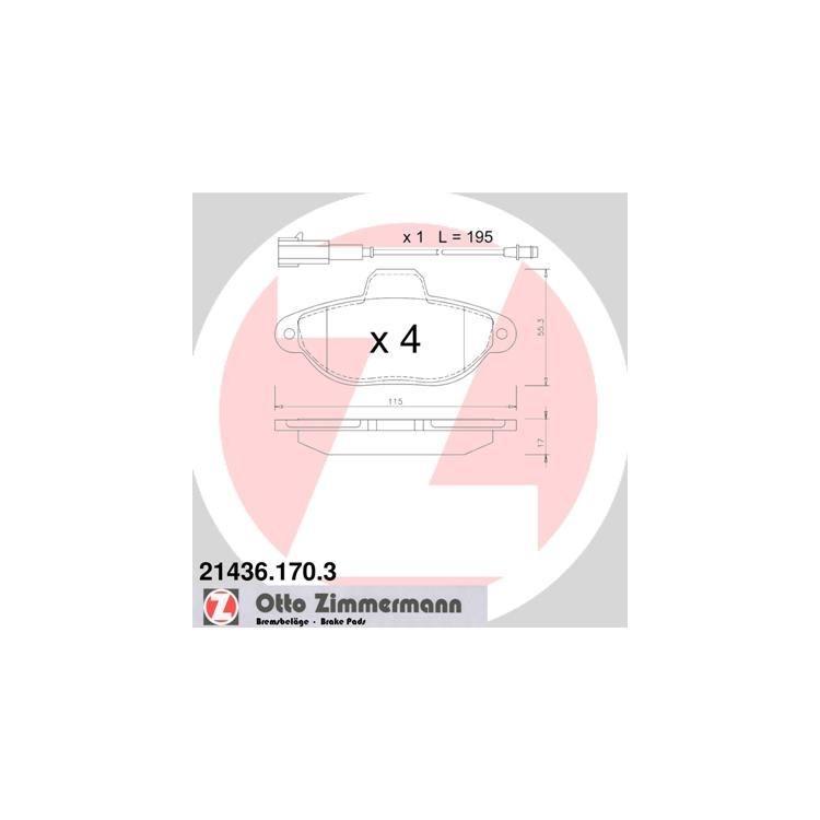 Zimmermann Bremsscheiben + Bremsbeläge vorne Fiat 500 312 + 0,9
