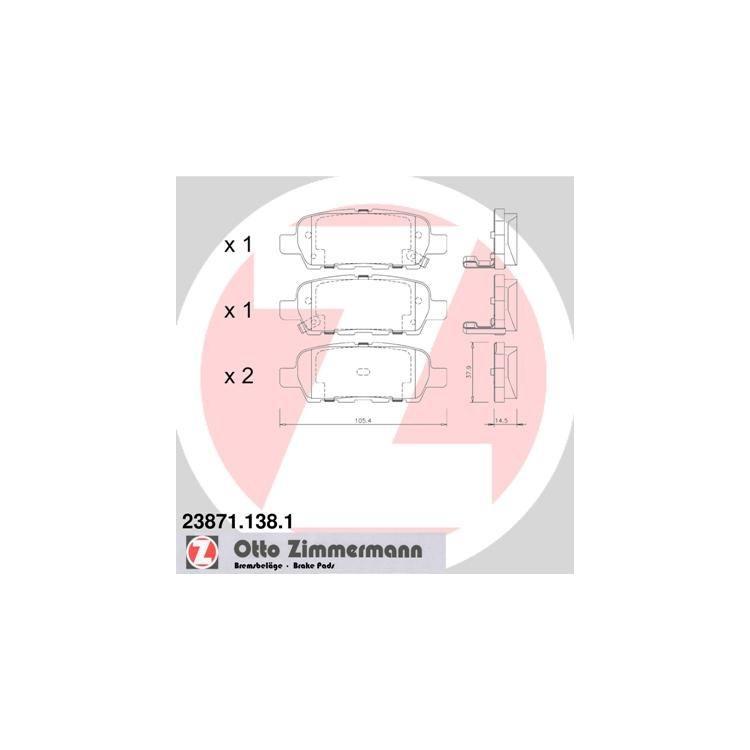 Zimmermann Bremsscheiben + Bremsbeläge hinten Nissan Leaf Qashqai X-Trail