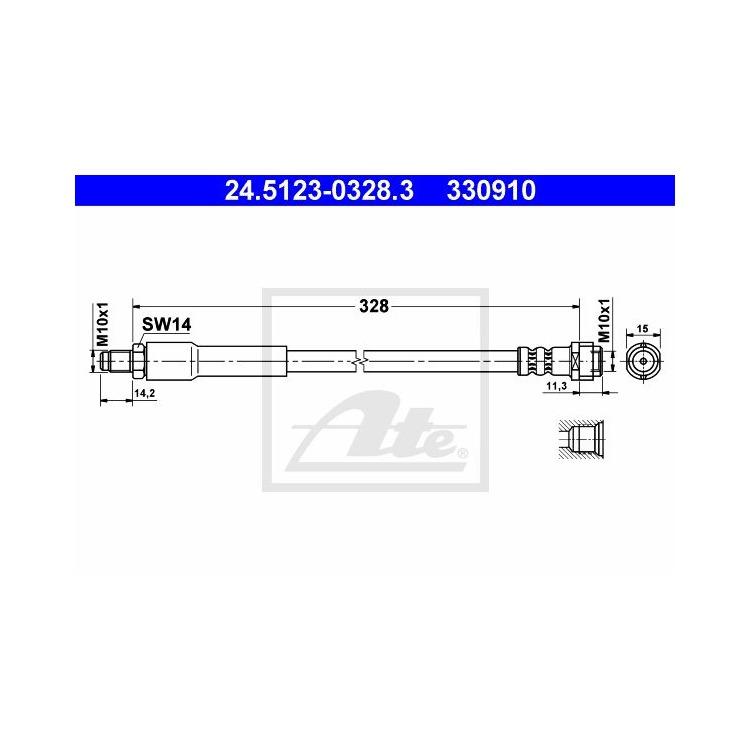 ATE Bremsschlauch hinten 24.5123-0328.3 im Autoteile Preiswert Shop kaufen und sparen!