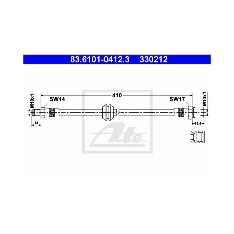 ATE Bremsschlauch vorne 83.6101-0412.3 im Autoteile Preiswert Shop kaufen und sparen!