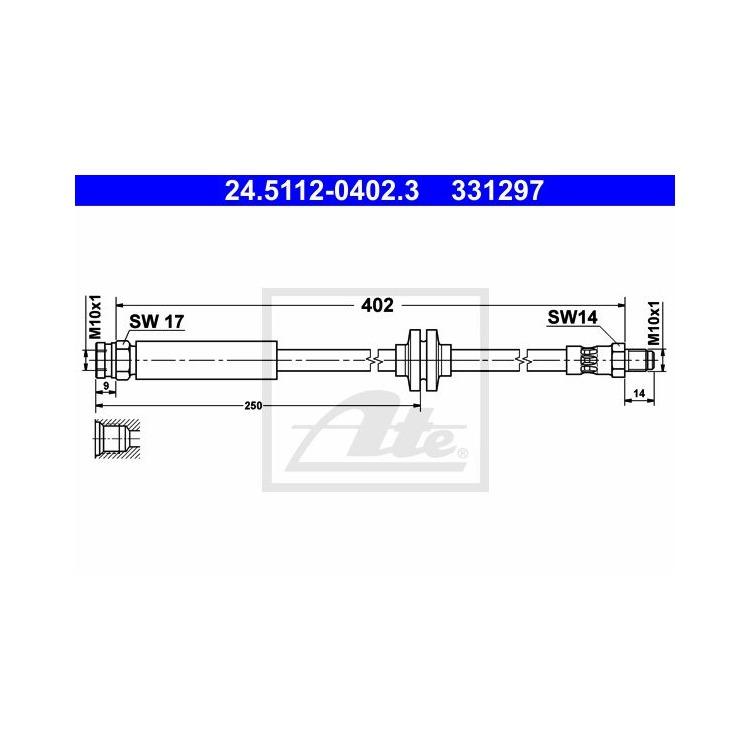 ATE Bremsschlauch vorne 24.5112-0402.3 online günstig Autoteile kaufen